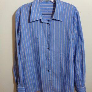 Foxcroft Blue & White Stripe Button Up Blouse 14W